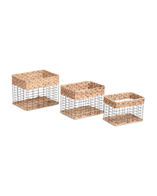 HANDCRAFTED IN VIETNAM Rectangle Metal Basket With Braid Top Bottom Collection $14.99 — $19.99