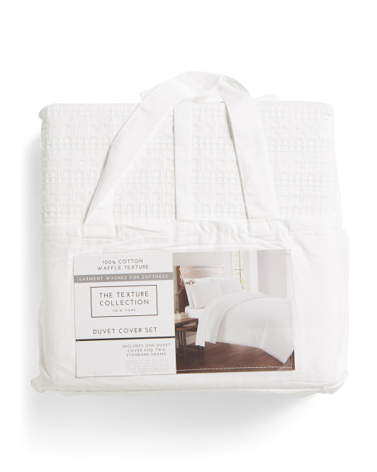 THE TEXTURE COLLECTION Waffle Garment Washed Duvet Set $49.99 — $59.99