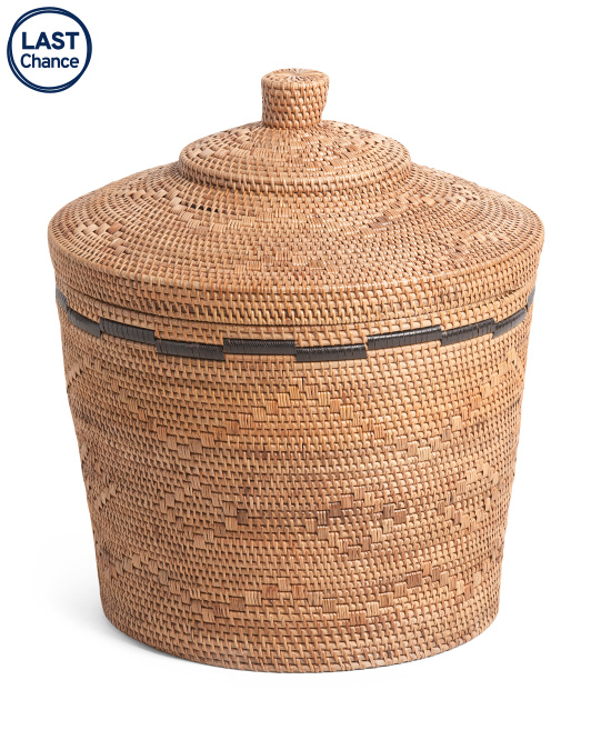 MADE IN INDONESIA Rattan Basket With Lid $59.99