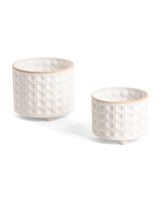 SAGEBROOK HOME Set Of 2 Ceramic Dimpled Footed Planters $29.99