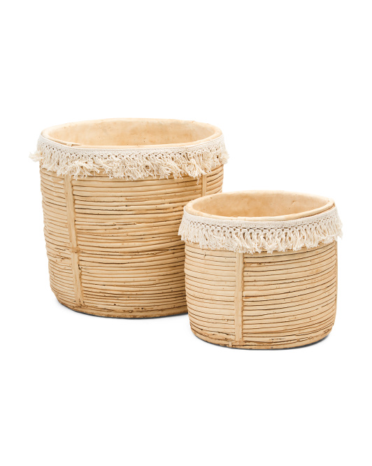 A&B HOME Set Of 2 Ceramic Planters With Tassels $24.99