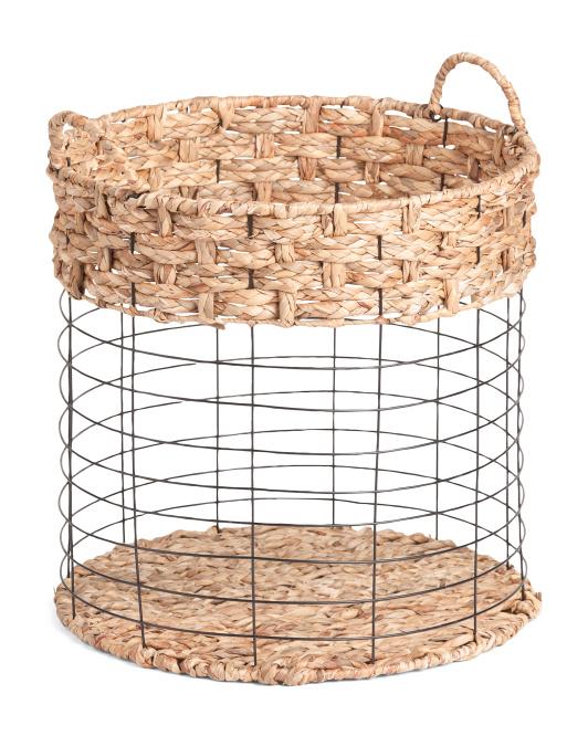 HANDCRAFTED IN VIETNAM Medium Round Metal Basket With Braid Accent $19.99