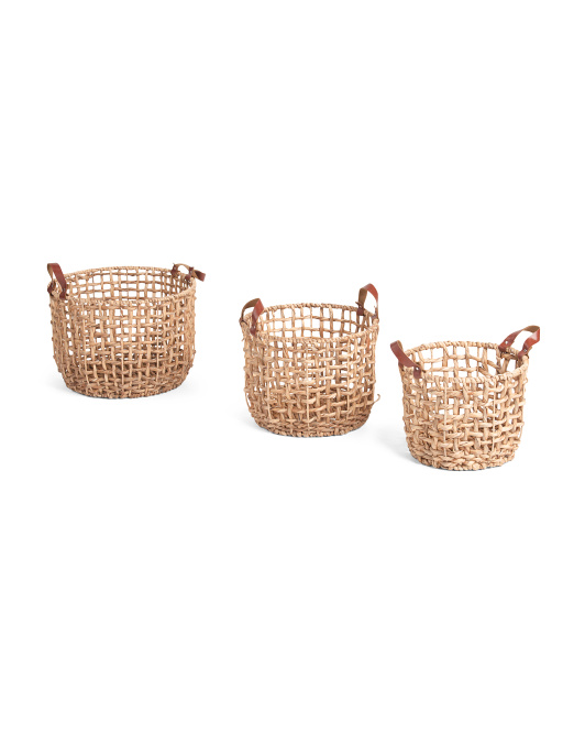 VIET05 Round Natural Open Twist Basket Collection $12.99 — $19.99