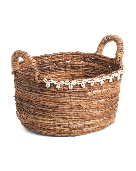 MADE IN VIETNAM Made In India Medium Oval Basket With Shell $29.99