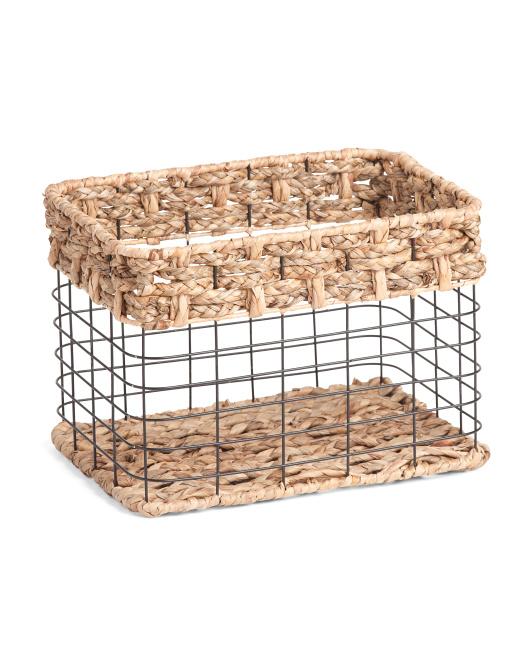 VIETNAM STORAGE Small Rectangle Metal Braid Top Basket $12.99
