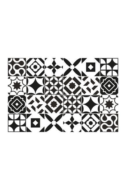 WalPlus Ross Black & White Wall Tile Sticker Set - 6 x 6 in - 24 Pieces $21.97