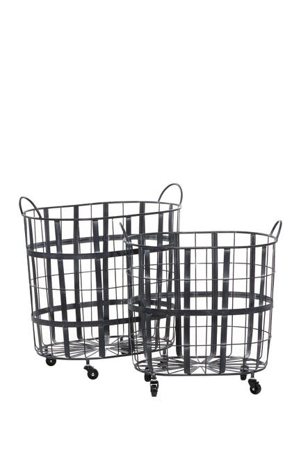 Willow Row Black Metal Industrial Storage Basket 2-Piece Set $208.97