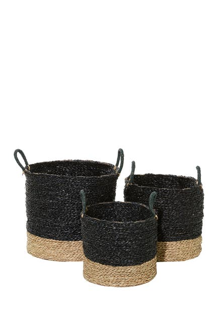 """Willow Row Black And Natural Woven Round Seagrass Baskets With Handles - Set Of 3: 14\"""" - 16\"""" - 18\"""" $128.97"""