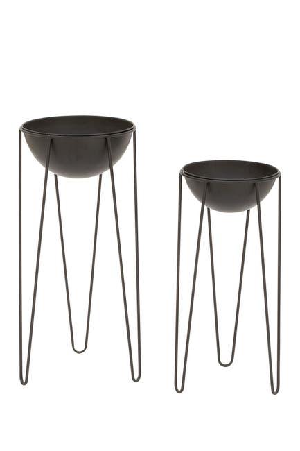 Willow Row Black Modern Dome Planter - Set of 2 $86.97