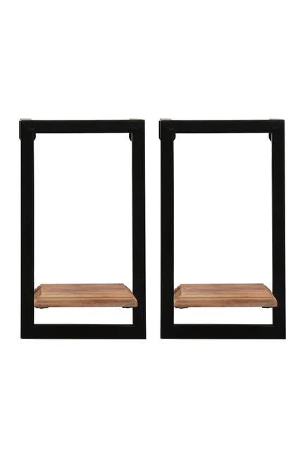 Stratton Home Natural Wood/Black Mini Shelves $34.97