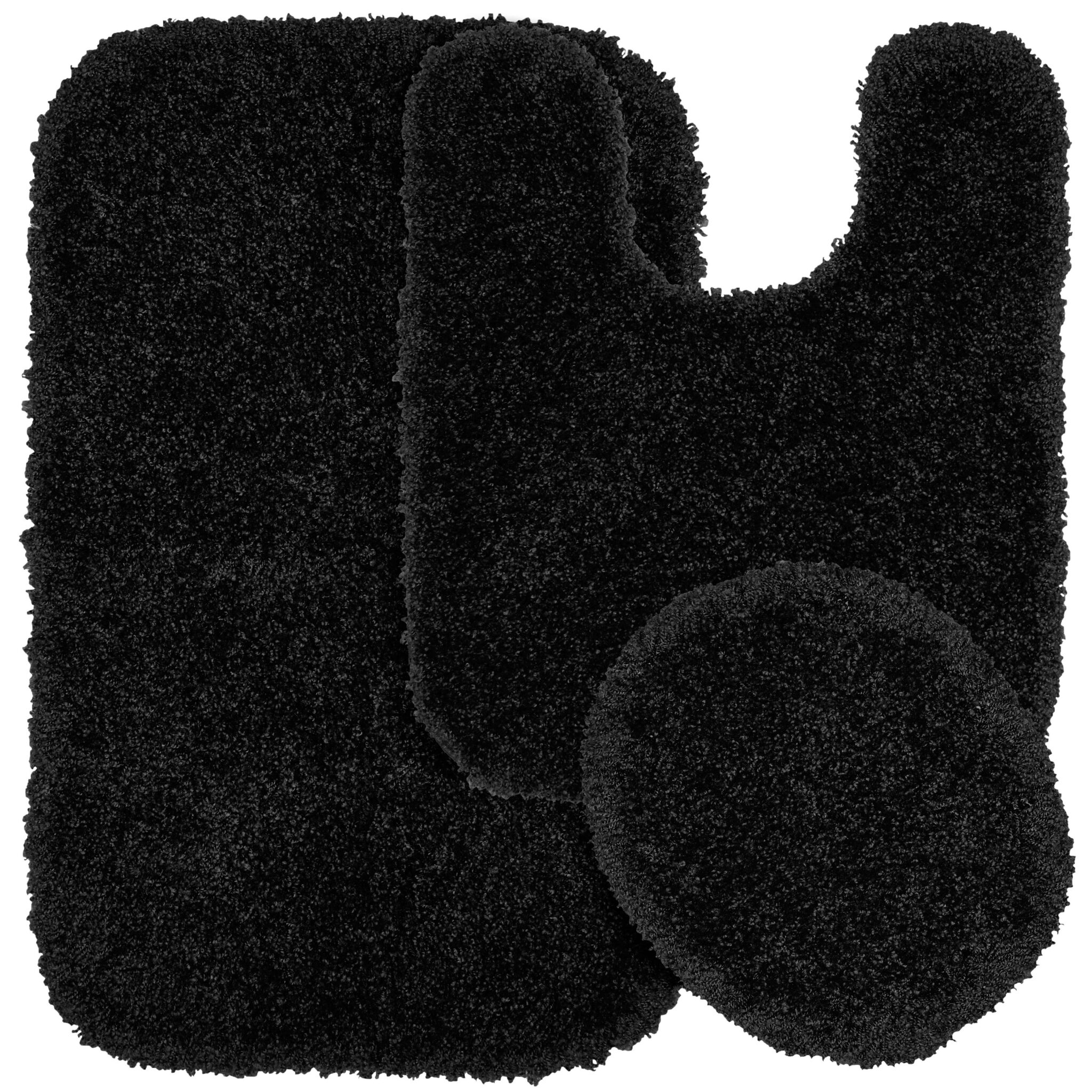 Garland Rug Serendipity Spa Shag Soft & Plush Black 3 Piece Bathroom Rug Set $43.06