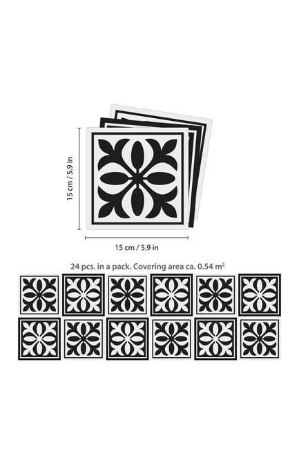"WalPlus Emma Monocromatic Black Victorian Wall Tile Sticker Set - 15cm x 15 cm (6\\\"" x 6\\\"") - 24-Piece $35.97"