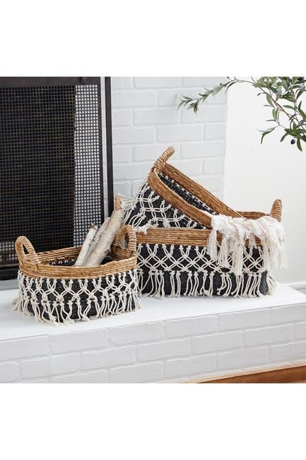 Willow Row Black Cotton Natural Storage Basket 3-Piece Set $157.97