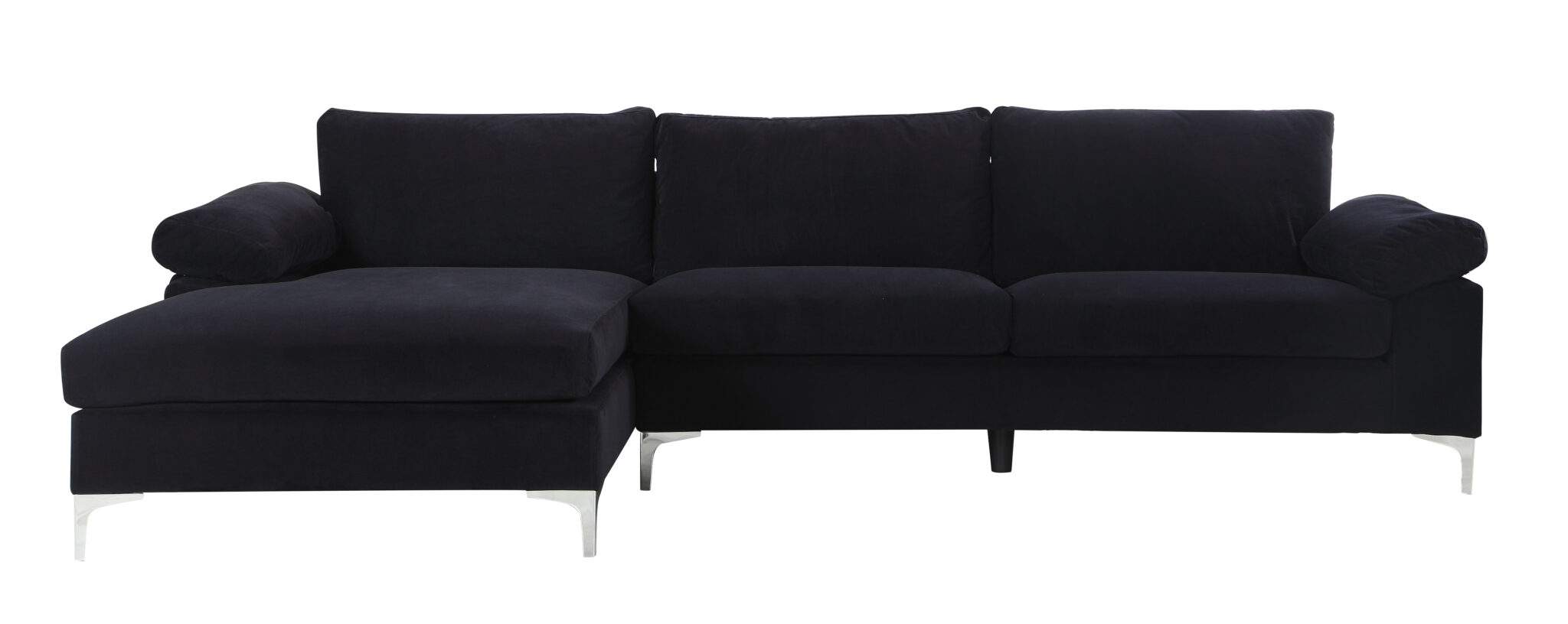 Mobilis Modern Large Microfiber Velvet Fabric L-Shape Sectional Sofa with Extra Wide Chaise Lounge $600.00