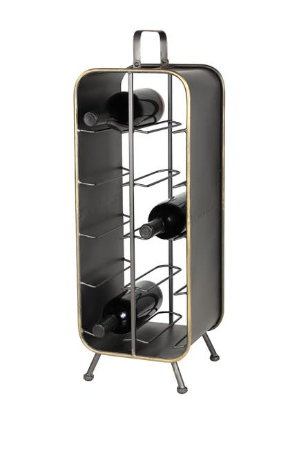 """Willow Row Large Rectangular Black Metal Wine Rack with Handle, Feet, and Gold Trim 10-Bottle Rack - 9.5\\\"""" x 25\\\"""" $84.97"""