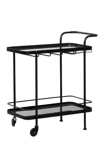 Willow Row Black Metal Contemporary Bar Cart $319.97