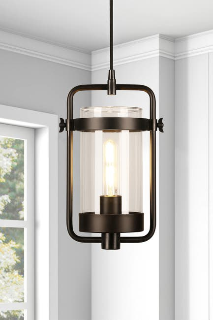 Addison and Lane Orion Industrial Metal & Glass Pendant - Blackened Bronze $84.97