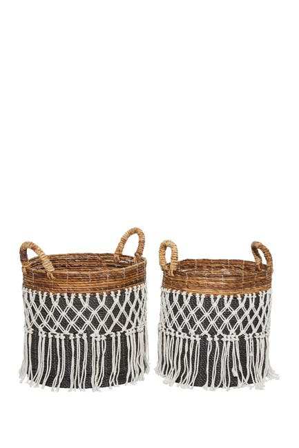 Willow Row Black Banana Leaf Natural Storage Basket 2-Piece Set $149.97
