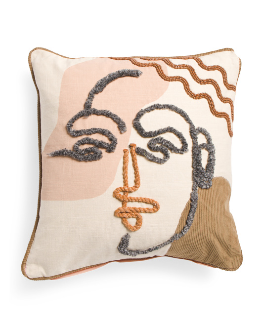 CLOTH AND CANOPY 20x20 Modern Face Embroidered Pillow $24.99