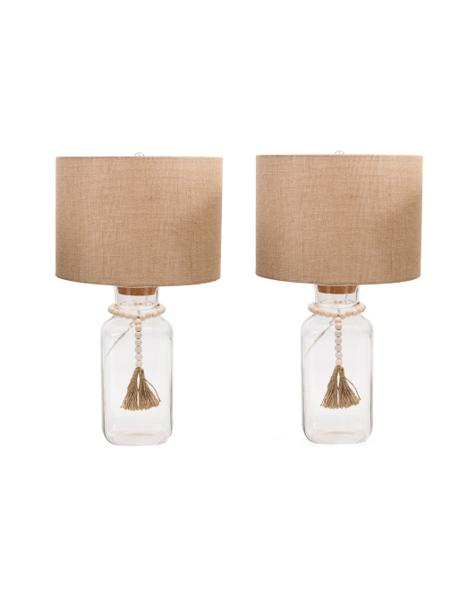 COAST TO COAST Set Of 2 Glass Lamps With Tassel $99.99