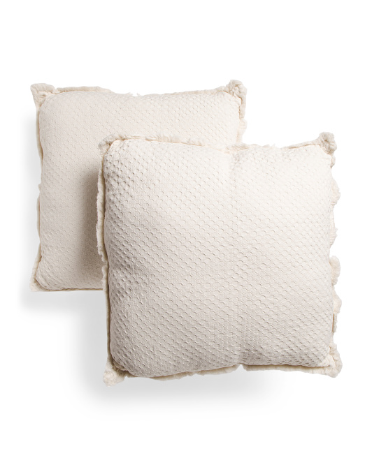 INUP HOME 26x26 Made In Portugal 2pk Waffle Fringe Euro Pillows $49.99