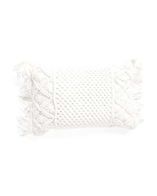 HANDCRAFTED IN INDIA 14x20 Indoor Outdoor Macrame Pillow $16.99