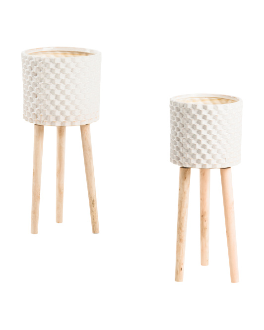 SAGEBROOK HOME Set Of 2 Ceramic Textured Planters With Wooden Legs $49.99