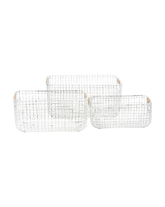 RGI HOME Antique White Double Gauge Weave Metal Basket Collection $9.99 — $14.99