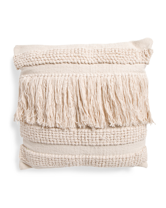 MAGASCHONI 22x22 Hand Woven Fringe Pillow $24.99