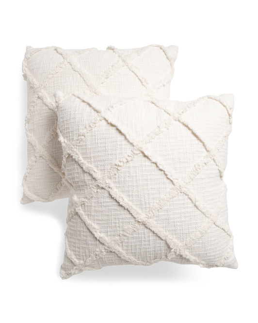HANDCRAFTED IN INDIA 20x20 2pk Textured Cotton Slub Pillows $29.99