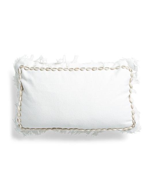 THRO 12x20 Shell Trim Fringe Pillow $19.99