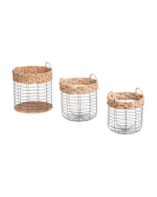 VIETNAM STORAGE Round Metal Braid Top Basket Collection $16.99 — $24.99