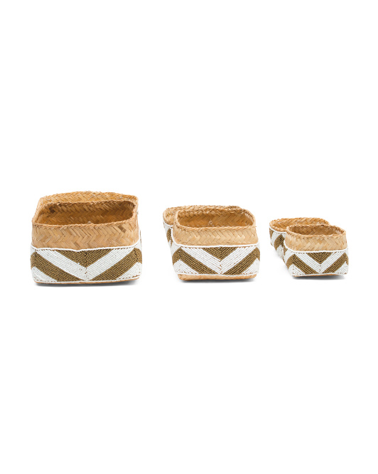 HANDCRAFTED IN INDONESIA Set Of 3 Beaded Boxes $59.99