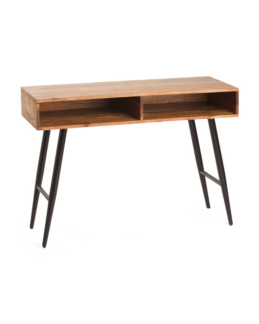 BP INDUSTRIES Open Shelf Acacia Wood Console Table $129.99