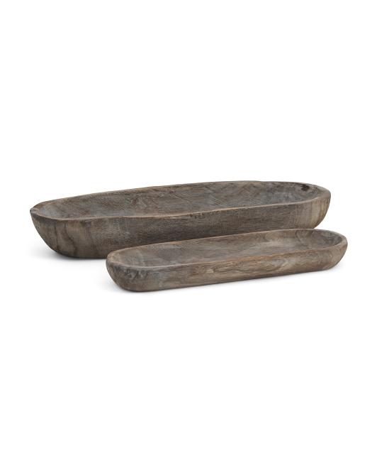 SAGEBROOK HOME Set Of 2 Wood Dough Bowl Decor $29.99