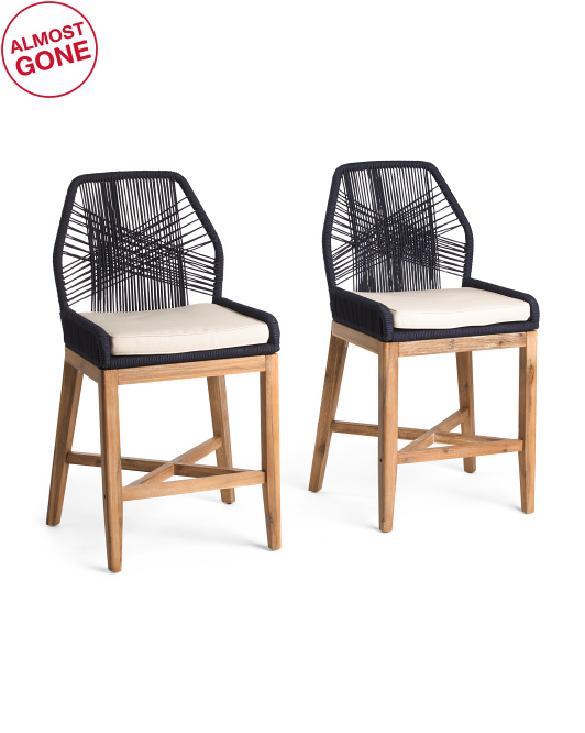 TOMMY HILFIGER Set Of 2 Rope Cross Weave Counter Stools $299.99