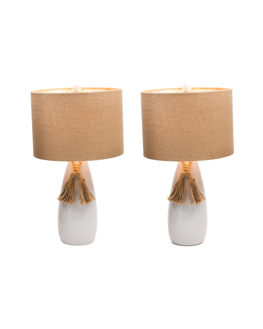 JIMCO Set Of 2 Ceramic Lamps With Bead Detail $79.99
