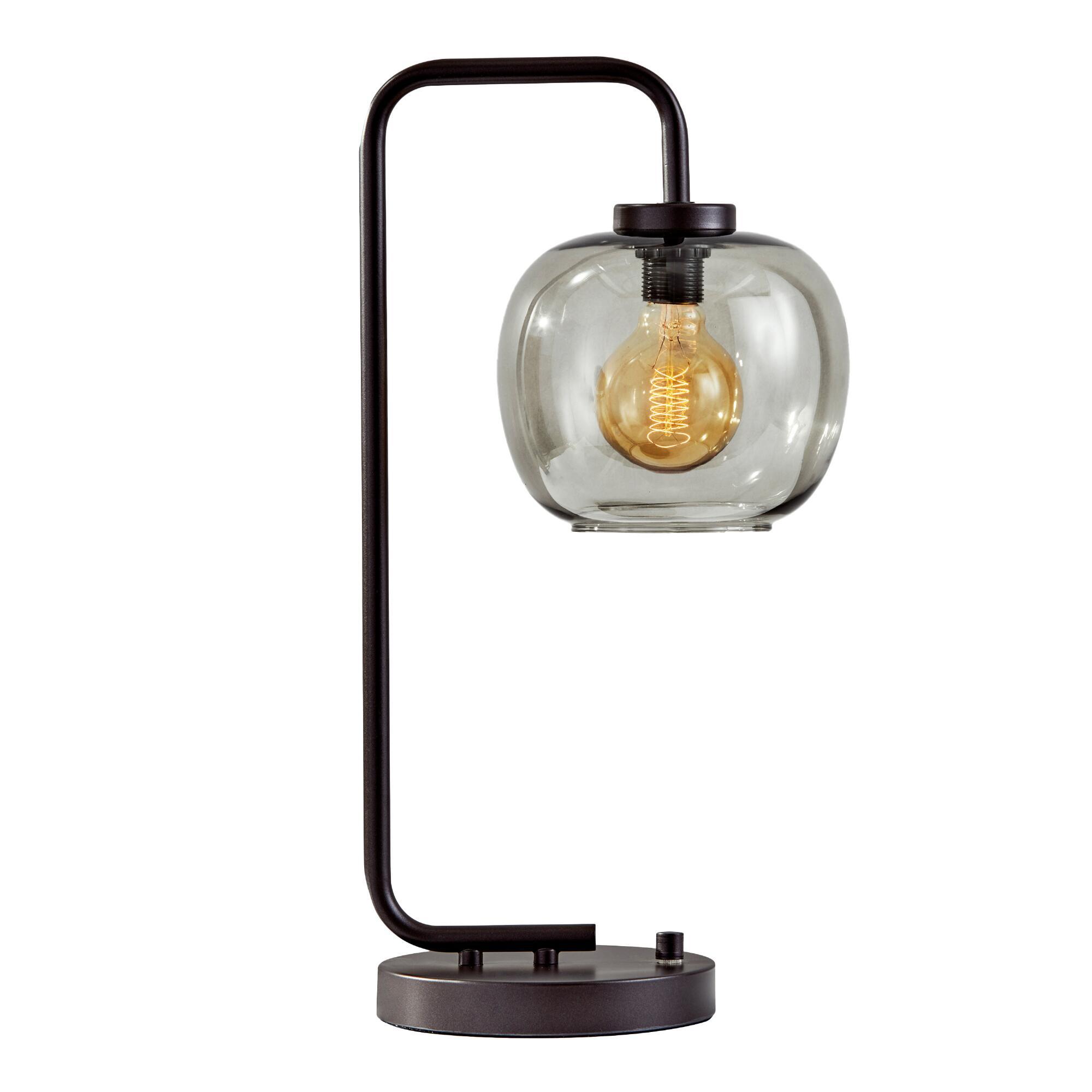 Matte Black And Smoky Glass Meyer Table Lamp $179.99