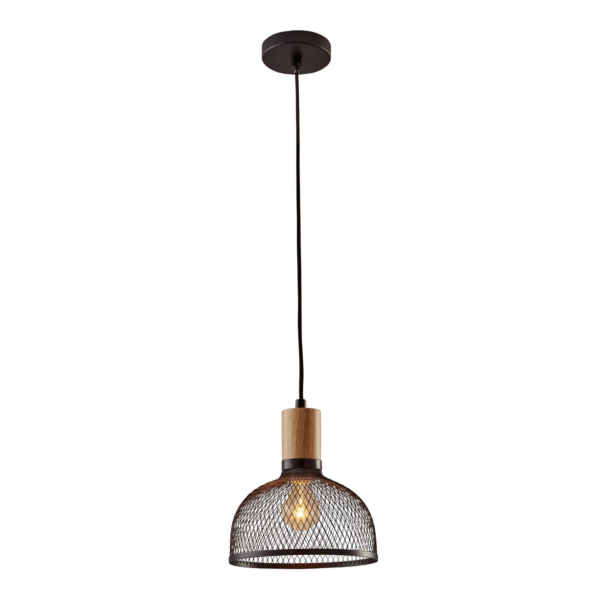 Small Black Mesh And Wood Clint Pendant Lamp $99.99