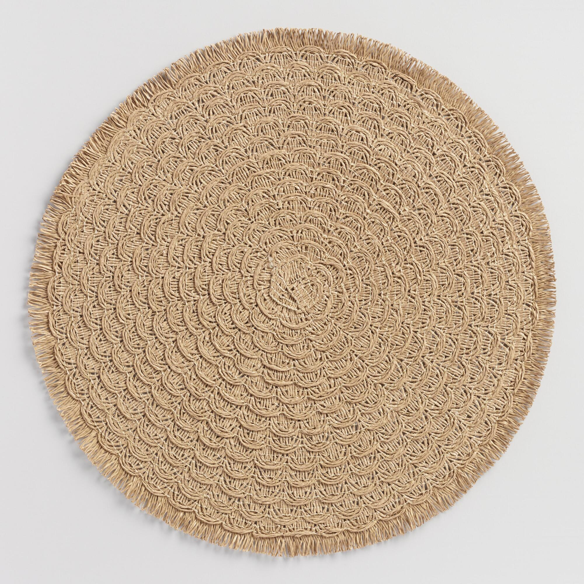 Round Natural Braided Placemats With Fringe Set Of 4 $19.99