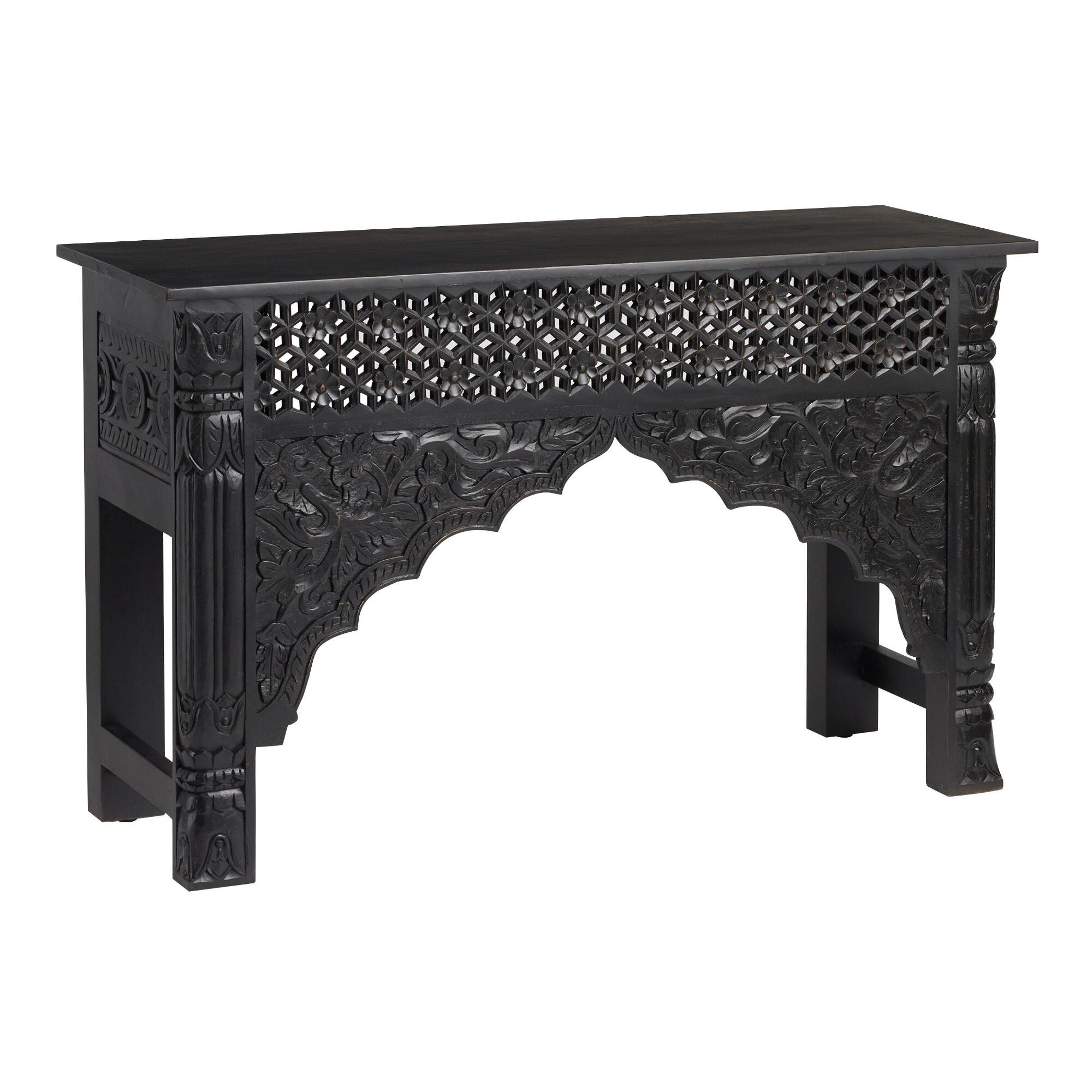 Black Carved Wood Console Table $599.99