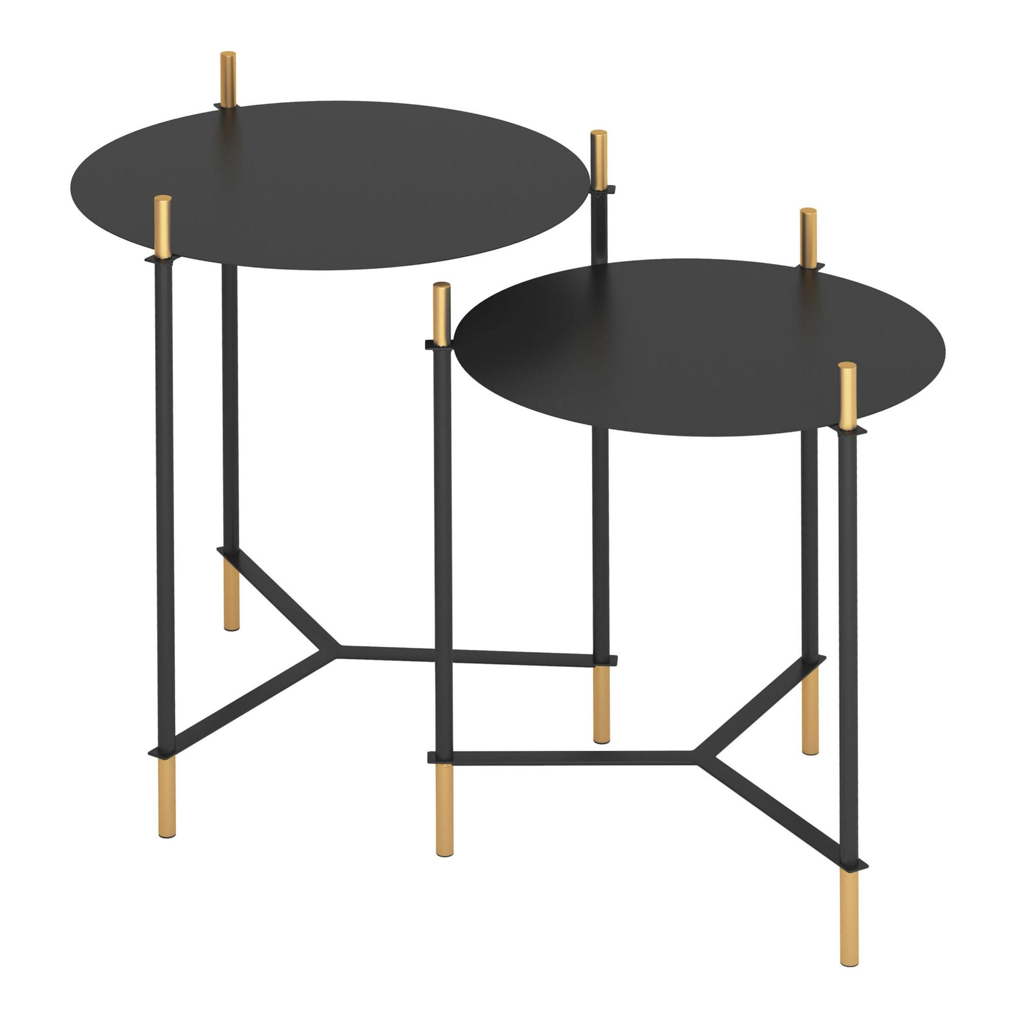 Round Black And Gold Buena Vista Accent Tables Set Of 2 $279.99