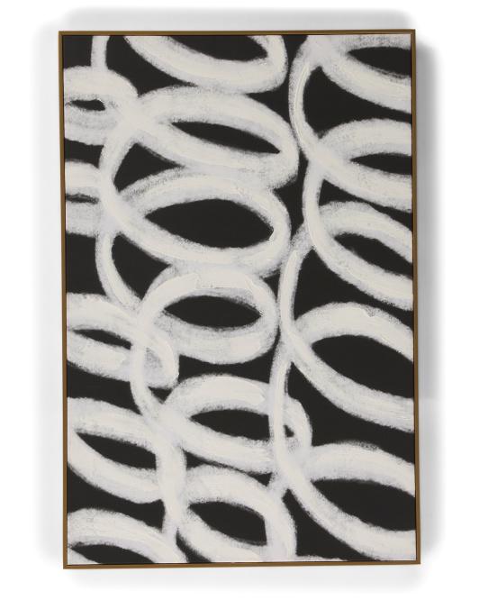 COLLEEN KARIS DESIGNS 24x36 Black Loop Abstract Wall Art $39.99