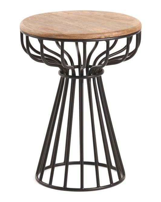 HANDCRAFTED IN INDIA Caged Metal Side Table $49.99