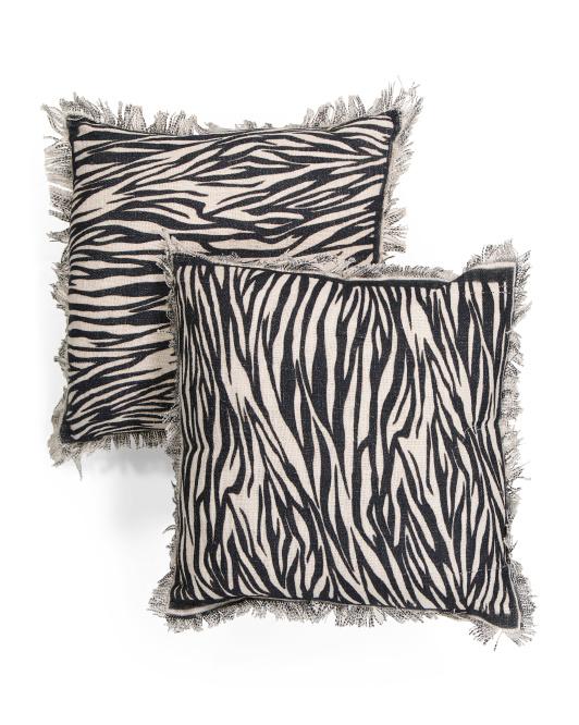 PATINA VIE 2pk 20x20 Zebra Print Pillow Set $24.99