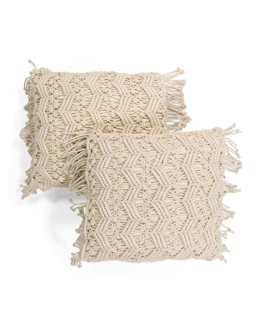 SIGRID OLSEN 20x20 2pk Indoor Outdoor Baja Macrame Pillows $29.99