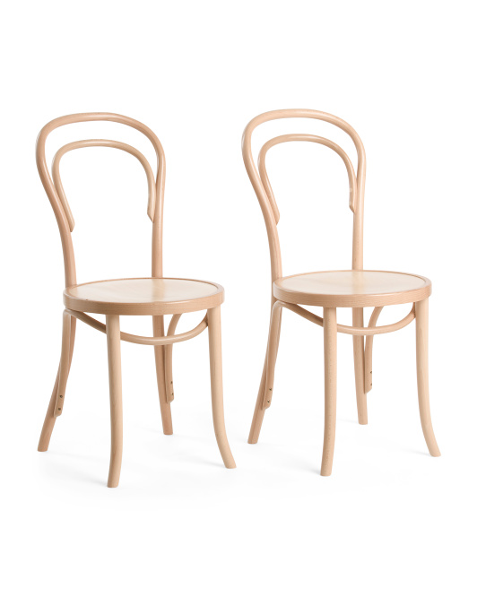 HANDMADE IN POLAND Set Of 2 Solid Beech Wood Dining Chairs $249.99