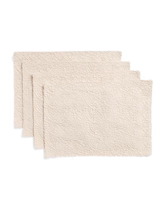 THRO 13x19 Set Of 4 Philip Lace Haze Faux Linen Placemats $14.99