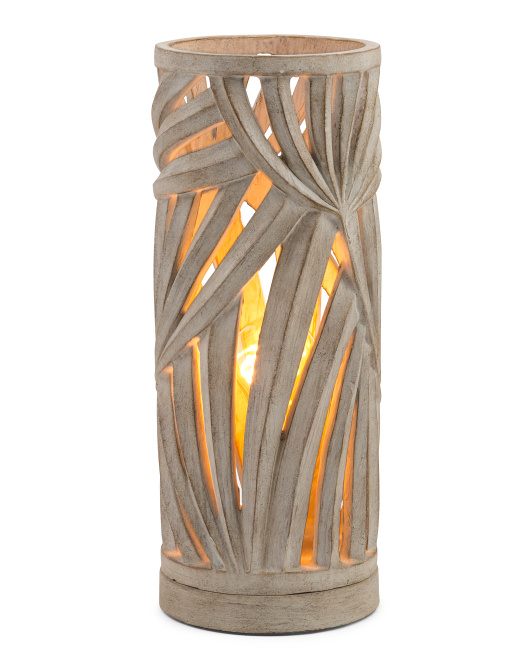 ILLUMINATION STATION Carved Palm Leaf Cylinder Uplight $29.99
