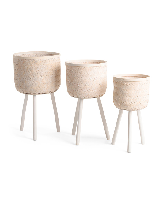 SAGEBROOK HOME Set Of 3 Bamboo Planters On Stand $69.99